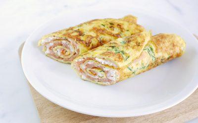 Omeletwrap met zalm en huttenkase