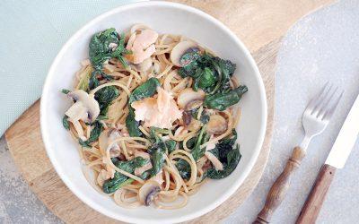 Spaghetti met zalm en spinazie